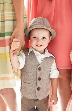 ring bearer, not hat. Rolled up white sleeves, grey vest, grey pants, black shoes. Wedding Suits, Wedding Attire, 2 Baby, Ring Bearer Outfit, Page Boy, Groom And Groomsmen, Wedding Bells, Boy Fashion, Dapper