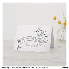 Shop Thinking of You Music Notes Greeting Card created by SwimMuse. Music Greeting Cards, Custom Greeting Cards, Musical Cards, Your Music, Music Notes, Thoughtful Gifts, Smudging, Paper Texture, Thinking Of You
