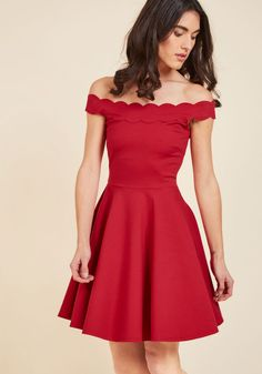 Romantic Marvel A-Line Dress. With the way you twirl off the metro to meet your beau in this red dress, onlookers will think they're witnessing a scene from the movies! #red #modcloth