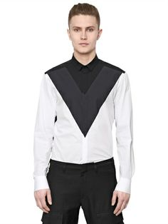 NEIL BARRETT - COTTON POPLIN SHIRT - LUISAVIAROMA - LUXURY SHOPPING WORLDWIDE SHIPPING - FLORENCE Men Shirts, Casual Shirts For Men, Outfits Hombre, Neil Barrett, Latest Mens Fashion, African Men, Country Outfits, Clothing Co, Bambam