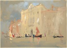 Gondolas Before a Palace on the Grand Canal in Venice, by Hercules Brabazon Brabazon