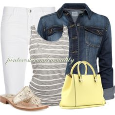 Bermuda Shorts & Denim Jacket, created by casuality on Polyvore