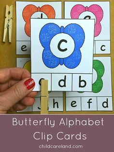 Butterfly Alphabet Clip Cards For letter recognition and fine motor skills development.