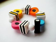 liquorice allsorts bracelet made from fimo clay