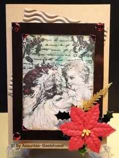 Gestempelte Weihnachtskarte ,   Nikolaus mit einem kleinen süßen Engel