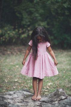 Linen Dress, Pastel Pink, Kids Fashion, Hand Made, Children Clothing, Peter Pan…
