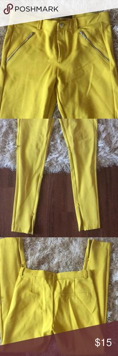 Zara Trafaluc pants leggings Mustard color brand new never worn super cute too small for me 😩 Zara Pants Leggings