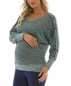 Save Now on this PinkBlush Mint Green Button Sleeve Maternity Top by Made in the USA: Maternity Apparel on #zulily today!