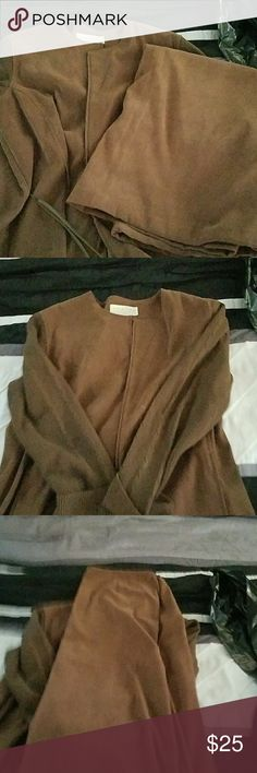 Business suit Brown suede business suit with long skirt Norton McNaughton Skirts Skirt Sets