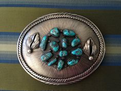 Vintage BUCKLE with Sterling Silver and 12 Morenci Turquoise nuggets, Signed LW, Native American Jewelry