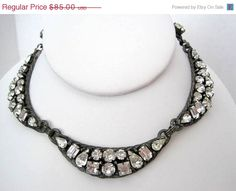 Art Deco Czech Rhinestone 40's Necklace Choker by VintagObsessions