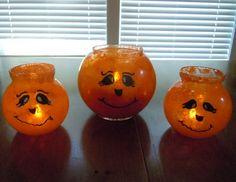 Halloween crafts, pumpkin lights