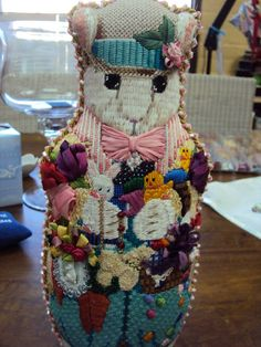 needlepoint bunny with Easter toys, designer unknown