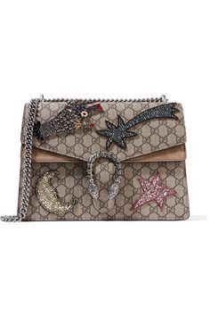 4615b7a0b1c GUCCI Dionysus Large Embellished Suede-Trimmed Coated Canvas Shoulder Bag.   gucci  bags