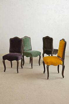 Chaise de salle à manger en velours Beatrix