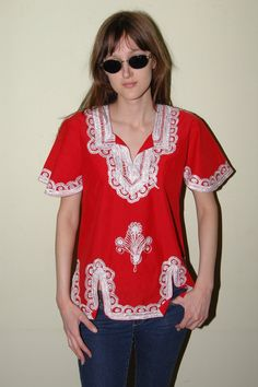 Vintage Embroidered Hippie Top M Boho Red  by iansvintagetreasury, $20.00