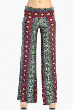 OMG Indian Diamond Print Flare Pants - Green / Red