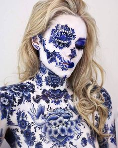 Of course you can not just make up . Of course you can not just make-up, but way too ingenious, so as not to pin it ❤ Meissen Porcelain Makeup Crazy Makeup, Makeup Looks, Vanessa Davis, Fantasy Make Up, Maquillaje Halloween, Blue Pottery, Make Up Art, Special Effects Makeup, Airbrush Makeup