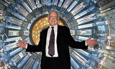 The Nobel laureate Peter Higgs enjoying the Large Hadron Collider exhibition, held at London's Science Museum. Photograph: Andy Rain