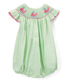 Look at this Barefoot Children's Clothing Green Whale Smocked Angel-Wing Bubble Romper - Infant & Toddler on #zulily today!