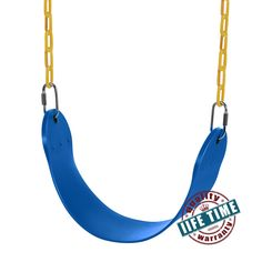 Blue HIG Swing Seat with Metal Triangular Buckle Playground Swing Set Accessories for Kids and Adults