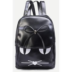 Black Cat Print Bow Flap Backpack ($15) ❤ liked on Polyvore featuring bags, backpacks, flap bag, flap backpack, print bags, print backpacks and rucksack bag