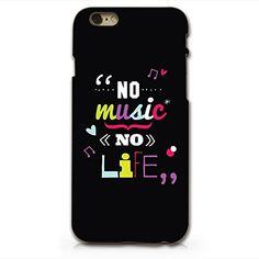 "Amazon.com: ""No Music No Life"" Black Hard Plastic Phone Case for iphone 6 6s_ SUPERTRAMPshop (VAS424ip6): Cell Phones & Accessories"