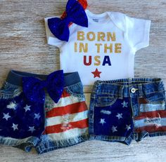 """Patriotic Baby Girl, Baby Girl's Rockin' Jean Denim Shorts """"Born In The . Patriotic Baby Girl, Baby Girl's Rockin' Jean Denim Shorts """"Born In The USA"""" , Onesie and headband, Baby dis Baby Girl Jeans, Baby Girl Shoes, Baby Girls, Toddler Girls, Distressed Denim Shorts, 4th Of July Outfits, Kids Outfits, Baby Outfits, Holiday Outfits"""