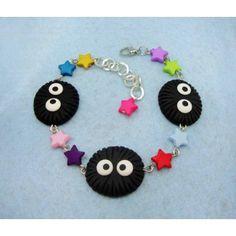 Susuwatari, bracelets,pulsera,fimo,polymer clay,handmade,hecho a mano,motas de polvo,ghibli,