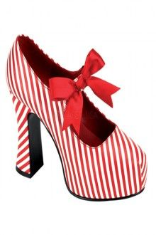 Red White Candy Cane Strap Bow Heels