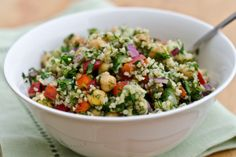 Bulgur Salad with Cucumbers, Red Peppers, Chickpeas, Lemon and Dill  Made with bulgur, fresh herbs, chopped vegetables and buttery chickpeas, this Middle Eastern-style salad is like a bulked-up tabbouleh. I like to make it over the weekend and keep it in the fridge all week long for healthy lunches.