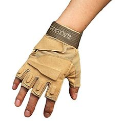 Floor Men's Outdoor Gloves Half Finger Cycling with Hard Knuckle for Riding Motorcycle Airsoft Military Army Police Swat Combat Assault (Desert, L) -- Awesome products selected by Anna Churchill