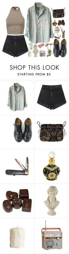 """""""I taste you like a hammer through my teeth"""" by tarynasaurus ❤ liked on Polyvore featuring Lauren Ralph Lauren, Dr. Martens, Retrò, Dollydagger, Universal Lighting and Decor, CO, women's clothing, women's fashion, women and female"""