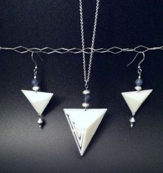 3D Printed Jewelry Geo Bold Necklace and Earrings Set, Natural Ivory Triangles, Blue Aventurine, Sterling Silver and Metallic Accents by FISH3Ddesigns on Etsy