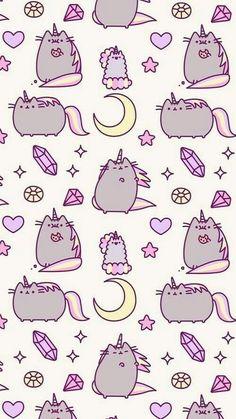 wallpaper, cat, and unicorn kép Unicornios Wallpaper, Kawaii Wallpaper, Cellphone Wallpaper, Pattern Wallpaper, 365 Kawaii, Chat Kawaii, Kawaii Drawings, Cute Drawings, Iphone Hintegründe