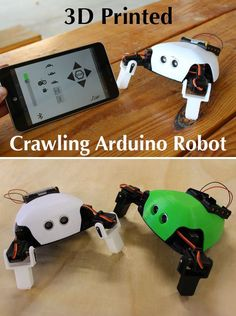 Critter: Printed Crawling Arduino Robot The Critter is a printed Arduino controlled crawling robotics kit. It was created by Slant Concepts as part of the LittleBots Robotics Kits project. 3d Printing Diy, 3d Printing Service, Impression 3d, Diy Electronics, Electronics Projects, 3d Printed Robot, Simple Arduino Projects, Robotics Projects, Science Projects