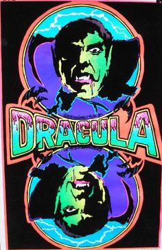 Vtg SMALL 1975 Dracula Blacklight Flocked by PJsVintageVariety, $13.95