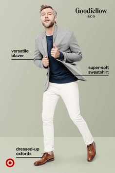 The ultimate fall-season buy is a comfortable blazer, and you'll get plenty of wear out of this one from Goodfellow & Co. Made with stretch twill and a soft shoulder construction, toss it over a sweatshirt and add a pair slim pants for a look that's modern and office-approved.
