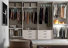23 Admirable Wardrobe Designs To Inspire You : Amazing Open Wardrobe Design with Drawers in White Modern Bedroom Design Open Wardrobe, Wardrobe Drawers, White Wardrobe, Wardrobe Storage, Wardrobe Closet, Built In Wardrobe, Dresser Drawers, Closet Storage, Storage Drawers