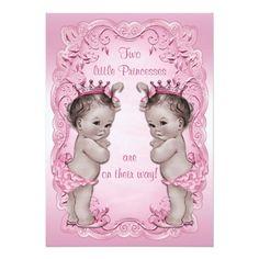 Pink Vintage Princess Twins Baby Shower Custom Invite
