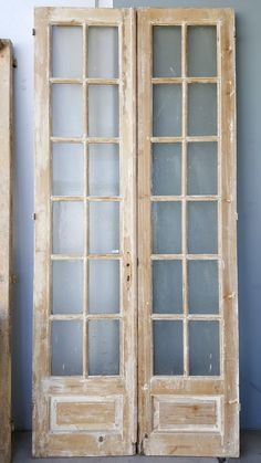 Pair of 12 Pane Wooden French Doors Antiquities Warehouse - November 09 2019 at Antique French Doors, French Doors Patio, French Antiques, Patio Doors, Vintage Doors, Vintage Clocks, French Vintage, French Country Rug, French Country Decorating