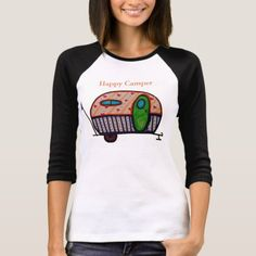 Happy Camper T-Shirt   gifts for kids, gifts for woodworkers, camping goodie bags #nylonpotscrubber #potholder #camper Customise T Shirt, Baseball Shirts, Happy Campers, Tee Design, Wardrobe Staples, Custom Shirts, Colorful Shirts, Fitness Models, Casual