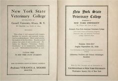 publication advertising two New York State Veterinary Colleges.one at Cornell and one at New York University Cornell University, York University, Veterinary Colleges, Professor, New York, Advertising, Teacher, New York City, Nyc