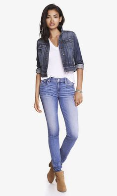Faded Medium Wash Blue Mid Rise Jean Legging | Express