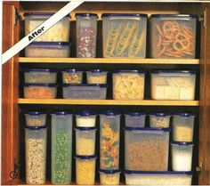 Tupperware Modulars for Pantry! Save so much space and keep things fresh! Tupperware Storage, Tupperware Organizing, Organizing Tips, Water Tray, Kitchen Hacks, Kitchen Ideas, Kitchen Planning, Kitchen Stuff, Vintage Tupperware
