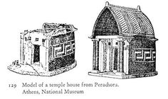 Early Greek model of a temple house from Perachora, Athens. Now in the Greek National Museum.