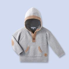 Wool-cotton knit hoodie for baby, boy