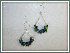 Mermaid Wire Wrapped Dangle Teal Green Purple Lime Green  Earrings Bridesmaid Earrings Bride Earrings Prom Earrings on Etsy, $15.00