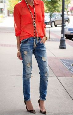 Distressed skinny jeans.