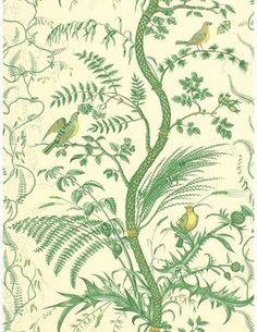 Brunschwig & Fils Bird and Thistle Wallpaper - traditional - Wallpaper - search.brunschwig.com